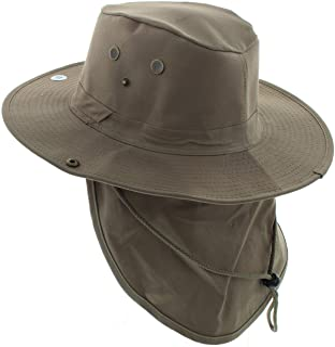 JFH Wide Brim Bora Booney Outdoor Safari Summer Hat w/Neck Flap & Sun Protection