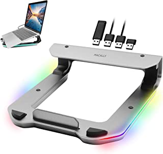 Macally RGB Laptop Stand with USB Ports - Optimize Your Workspace in Style - Aluminum MacBook Stand for Desk with 4 Port U...