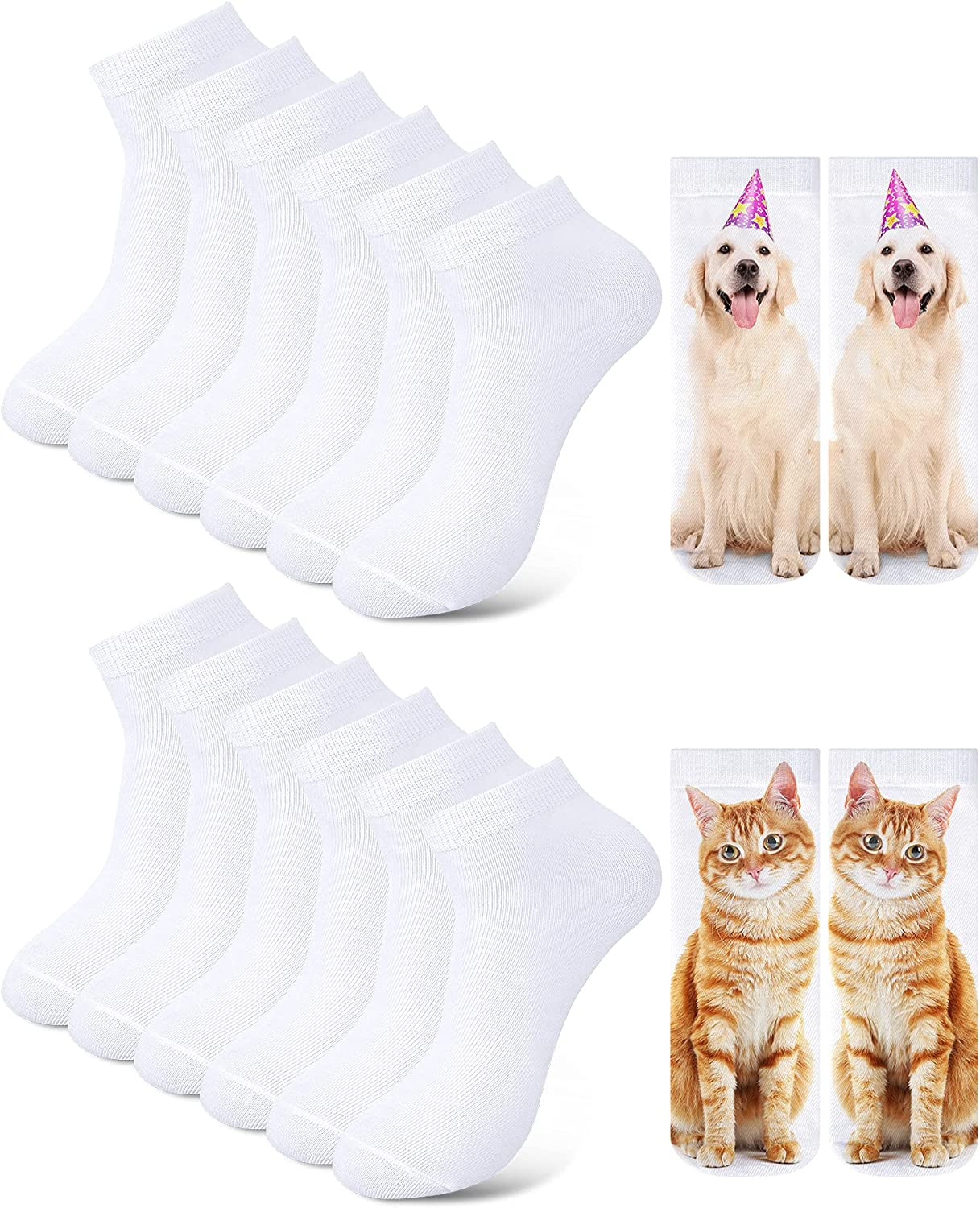 12 Pairs Blank White Sublimation Socks for DIY Personalized Socks