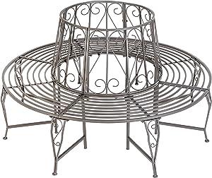 TecTake Panchina Circolare per di Albero Metallo (164 x 164 x 89 cm) - Antracite -