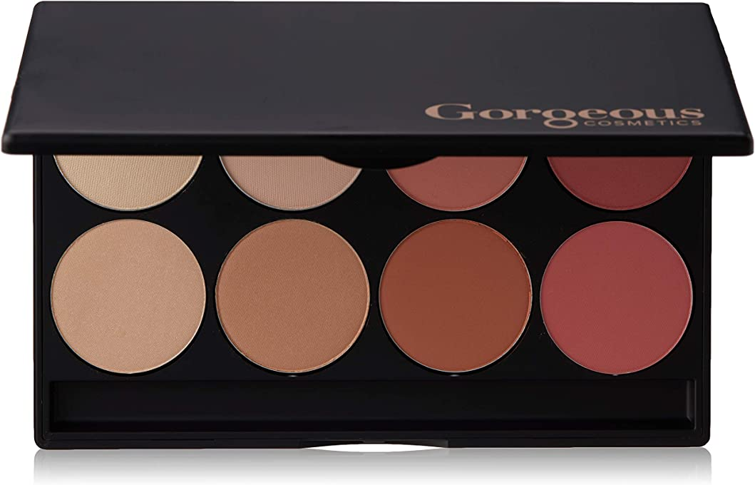 Gorgeous Cosmetics Blush and Highlight Eyeshadow Palette for women, 8 shades, 30.4g
