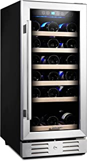 Kalamera 15 Inch Wine Cooler Refrigerator 30 Bottle with Stainless Steel & Double-Layer Tempered Glass Door and Temperatur...