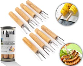 Irisvito Corn Holders, Stainless Steel with Wooden Oak Handle Corn on The Cob Holders for Kids and Adults Home Cooking and BBQ, Set of 8 (4 Inch Long Corn Holder)