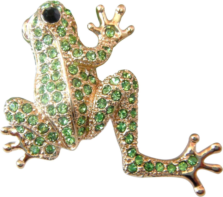 Navachi 18k Gold Plated Full Crystal Frog Brooch pin