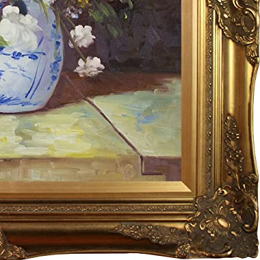 """overstockArt Grande Vase Di Fiori by Pierre-Auguste Renoir Hand Painted Oil on Canvas with Brasovia Frame, 26.5"""" x 30.5&#"""