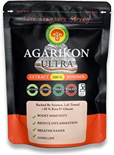 Organic AGARIKON Mushroom Powder Extract: Immunity Longevity Superstar, Adult Strength, 100 Gram, 2 Month Supply, 30% Beta d- Glucans, Fruiting Body No Filler, Reduce Inflammation, Breathe Easier