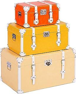ts-ideen – Juego de 3 Maletas como baúl, Caja, cajón, Caja de Madera, Vintage, Cofre de Madera, Piel sintética, Estilo Retro rústico, 3 Colores