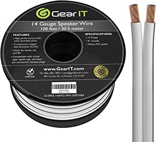 14AWG Speaker Wire, GearIT Pro Series 14 AWG Gauge Speaker Wire Cable (100 Feet / 30.48 Meters) Great Use for Home Theater...