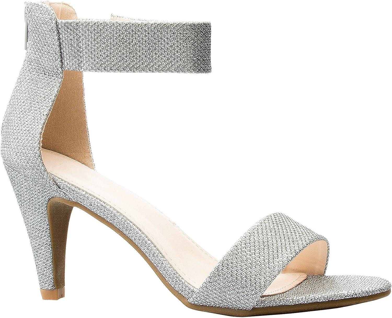 OLIVIA K Women's Open Toe High Heel Ankle Strap Sandal