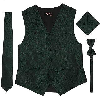 Men's Formal Tuxedo Suit Vest Imperial Tie Bowtie and Pocket Square 4 Peace Set Verity of Colors