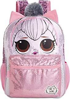 pink silver backpack