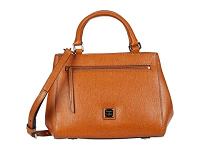 Dooney & Bourke Saffiano Small Zip Satchel (Natural) Handbags