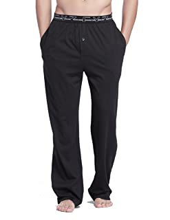Image of Men's Two Pocket 100% Cotton Knit Pajama Pants - More Colors Available