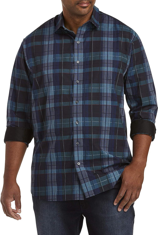 DXL Synrgy Big and Tall Plaid Stretch Sport Shirt, Blueprint