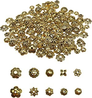 200PCS Assorted Antique Bronze Alloy Flower Metal Bead Caps 6-10mm for Jewelry Making with 5 Styles by SkyCooool