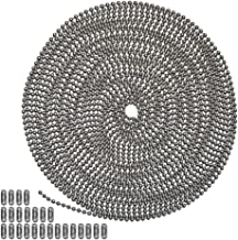 25 Foot Length Ball Chain, Number 6 Size, Stainless Steel, 25 Matching Connectors