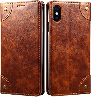 SINIANL Case for iPhone XS Max/XR/XS/X/8/8 Plus/7/7 Plus Leather Wallet Case Card Holder Slots Flip Cover