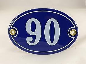 Emaille huisnummerbordje nr. 90, ovaal, blauw-wit Nr. 90 Blau-Weiß + Schrauben und Dübel