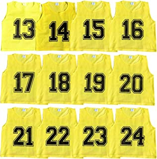 Athllete Set of 12 - Scrimmage Vest/Pinnies/Team Practice Jerseys with Free Carry Bag. Sizes for Children Youth Adult and Adult XL