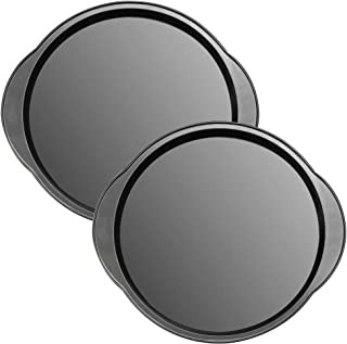 DecorRack Set of 2 Pizza Pans Carbon Steel 12 Inch Flat Nonstick Surface Oven Baking Pizza Tray Bakeware for Creating and Serving Homemade or Store Bought Pizza, Grey Round Baking Sheets (Pack of 2)