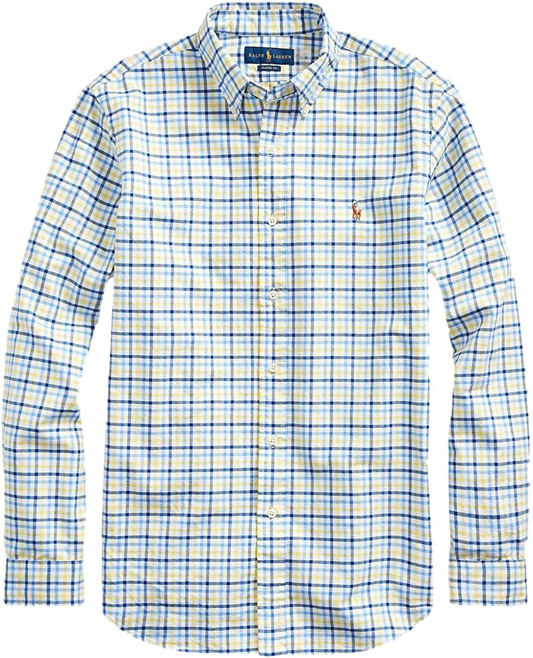 Polo Ralph Lauren Classic Fit Oxford Shirt Yellow/Navy Multi 2XL