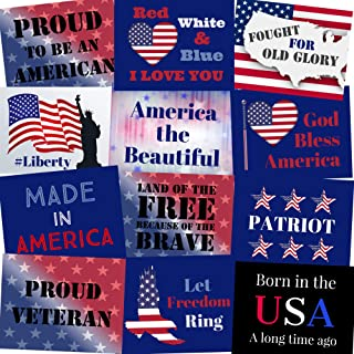 Patriotic Photo Booth Props - Memorial Day, 4th of July, Veterans Day - Party Signs - Set of 12 (Patriotic)