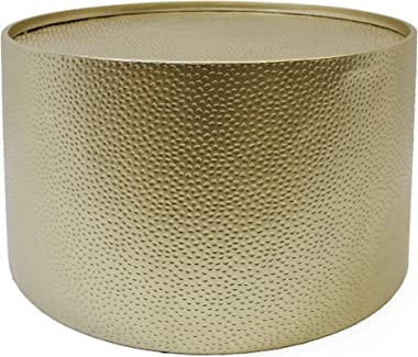 "Christopher Knight Home 308945 Rache Modern Round Coffee Table with Hammered Iron, Gold, 26. 00"" L x 26. 00"" W x 17. 00"" H"