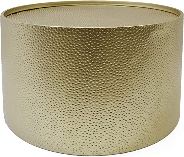 Great Deal Furniture 308945 Rache Modern Round Coffee Table With Hammered Iron Gold
