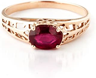 1.15 ct 14K Solid White Rose Yellow Gold Filigree Solitaire Ring with Natural Ruby 2330