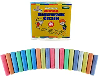 The Original Toy Company - 20 Non-Toxic Jumbo Stick Washable Sidewalk Chalk - 7 Brilliant Chalkboard Colors - Conical Safety Shape Wont Roll Away