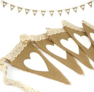 ibuyi 3m 12piezas rústico Vintage corazón yute arpillera Banner bandera de encaje Burlap banderines boda Photo Prop banderines para decoración para boda fiesta