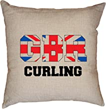 Hollywood Thread British Curling - Winter Olympic - GBR Flag Decorative Linen Throw Cushion Pillow Case with Insert