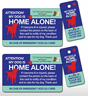 2 Pk. My Dog is Home Alone Pet Alert Emergency ICE ID Plastic Wallet Card and Keytag with Emergency Contact Call List Card (Qty. 2)