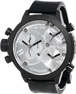WELDER - K29 8000 - Reloj analógico de caballero de cuarzo con correa de goma negra - sumergible a 100 metros