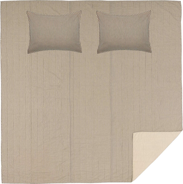 VHC Brands Farmhouse Bedding Sawyer Mill Ticking Cotton Pre-Washed Striped Sham Queen Quilt Set, Dark Creme White