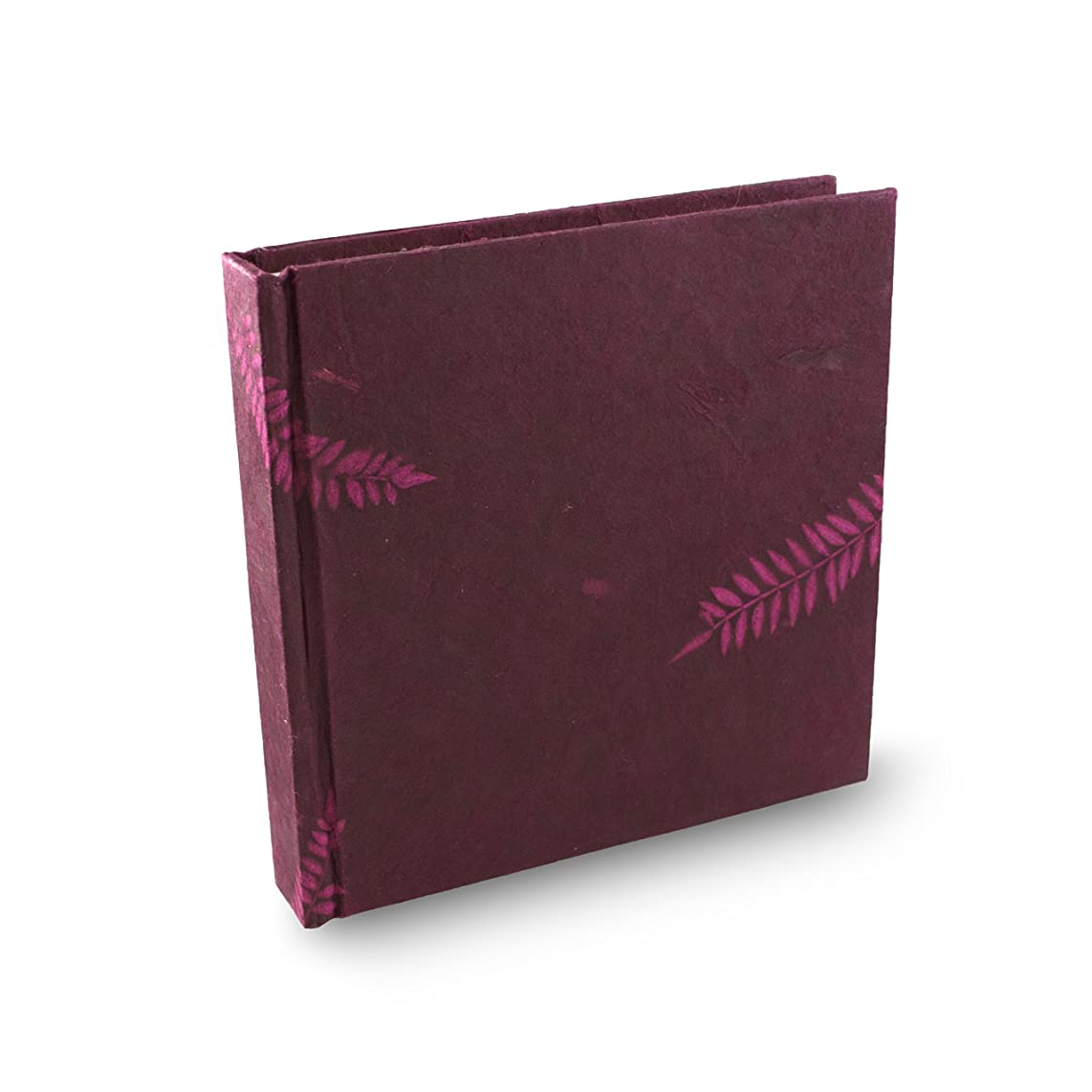Eight Rivers Eco Fern Leaf Journal with Handmade Lokta Paper. 6x6 Inches. Made in Nepal. (Fuchsia Rose)