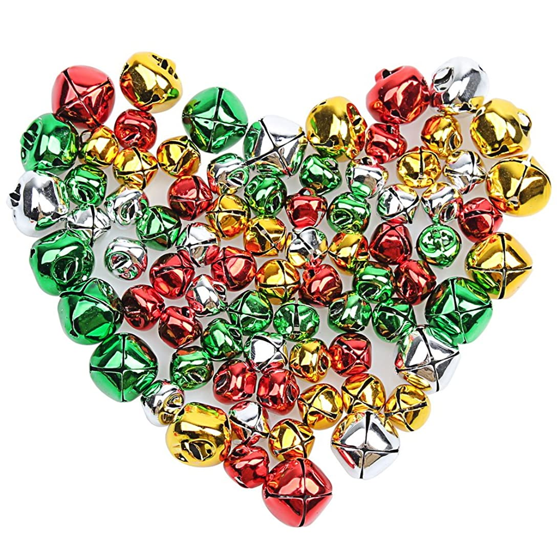 Pengxiaomei 200 PCS Craft Bells, Colorful Jingle Bells Christmas Bells, Jingle Bells for Crafts Party & Festival Decorations and Jewelry Making (0.4 Inch, 0.6 Inch)