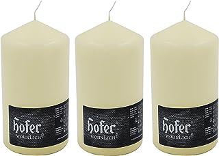 Hofer Bougies Pilier - 3 pièces - 60 heures de combustion - Ivoire - 8 cm x 15 cm - Cire non parfumée, sans gouttes, longu...