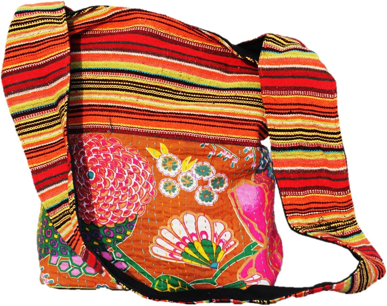 TRIBESMANgold Hippie Hobo Sling Shoulder Crossbody Bag Purse Cotton Boho