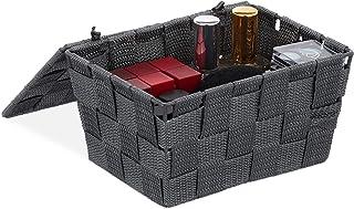 Relaxdays Panier de rangement avec couvercle, aspect tressé, organiseur de salle de bain H x L x P : 10,5 x 19,5 x 14,5 c...