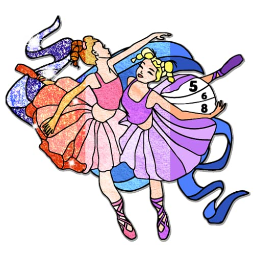 Ballerina Color by Number Book - Grownups Paint + Glitter + Crayon + Oil Paint Coloring Pages