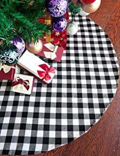 Vanteriam 48 Inches Christmas Tree Skirt Double Layers Black and White Plaid Buffalo for Xmas Holiday Tree Decorations