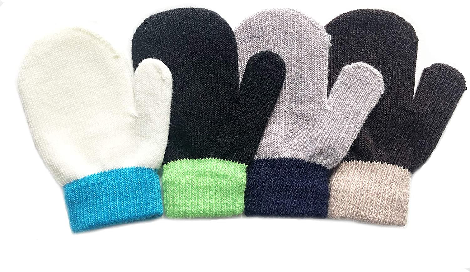 LAKYTION 4 Pairs Toddler Magic Stretch Mittens Full Finger Mittens Knitted Gloves Winter Warm Kids Knit Gloves for Little Girls Boys 4 colors