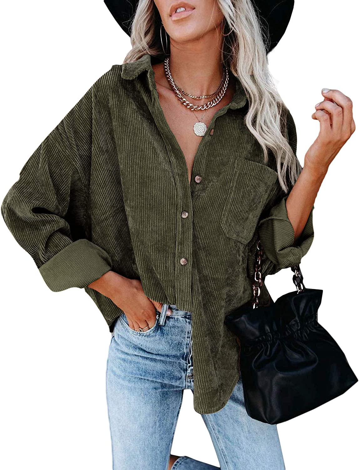 Womens Corduroy Shirt Button Down Long Sleeve Oversized Ribbed Blouse Tops Casual Warm Shirt Jacket