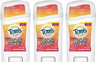 Tom's of Maine Aluminum- Free Wicked Cool Deodorant, Natural Deodorant, Toms Deodorant, Girls Summer Fun, 1.6 Ounce, 3-Pack