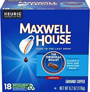 Maxwell House Original Roast Ground Coffee K Cups, Caffeinated, 18 ct – 6.2 oz Box (Pack of 4)
