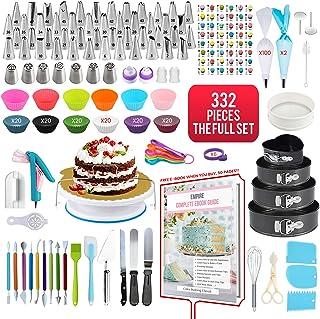 Empire Cake Decorating Supplies 332 Pieces, Baking Set with 4 Baking Trays, FREE CAKE DECORATING E-BOOK, Baking Supplies w...