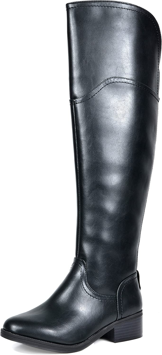 TOETOS Women's Hope Black Over The Knee Riding Boots Size 5 M US