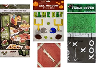 Football Party Table 12 Piece Buffet Decorating Kit, Table Cover, Napkins, and Game Day Window Gels