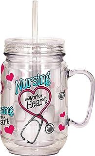 Spoontiques Nurse Mason Jar, 16 ounces, Pink
